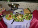 Festa jantar com filé ao molho madeira arroz,fricassê,saladas