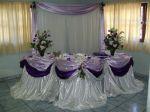 Mesa do bolo em lilás, prata e uva