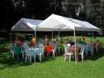 Decoração de mesas de convidados - Cocórico