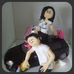 Cód:N184 noiva com camisa do corinthians e noivo limpando carro ..