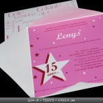MOD 204B - TEEN�S - 20x20cm - envelope tulipa, impress�o em alto-relevo com ilustra��es+texto, papel micro-cotel�. convite em acetato cristal - texto/ilustra��o em alto-relevo.