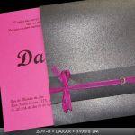 MOD 209B - DAKAR - 19X19cm - envelope com dobra especial, fechamento com fita de organza 0,5cm c/monograma em n�quel. convite com impress�o alto-relevo de texto/ilustra��o