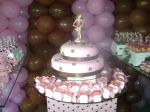 bolo rosa e marrom