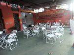 Área Externa  com mesa de convidados