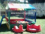 KIT BABY 1 - Tamanho 1,50m x 1,50m (01 piscina de bolinhas + 01 escorregador + 01 gangorra + 01 gira gira) - Suporta crianças até 7 anos