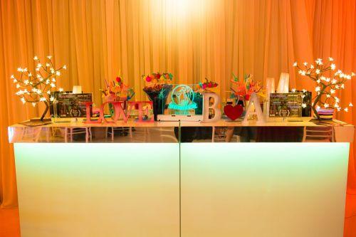 Balcão Clássico Liso - faixa espelhada - led color - Para todos os tipos de eventos!