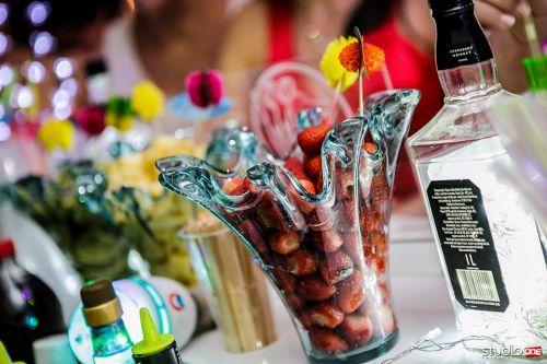 Frutas e bebidas selecionadas