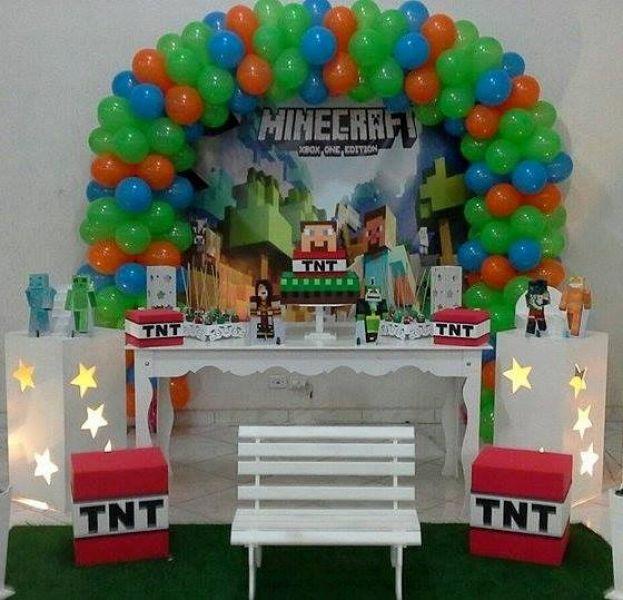 Decoração Minecraft  Folia e Alegria Festas -> Decoracao De Banheiro No Minecraft