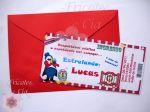 Convite ingresso 14,5x6cm com envelope - 10 unid   R$ 35,00