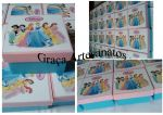 Caixa em MDF, 10x10cm, decorada em dècoupage. Tema: as princesas.