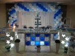 Mesa colmeia azul