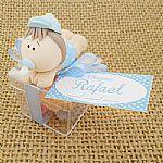 Lembrancinha Caixinha acrilico com boneco em biscuit personalizado para nascimento aniversário e chá de bebê