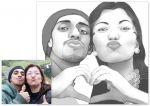 caricatura casal em adesivo