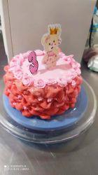 bolo decorado com fuxico