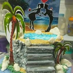 bolo para o dia dos namorados com paisagem.