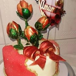 bolo para o dia das mães com flores de chocolate