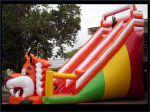 Vista lateral do tobogã. Inevitável diversão e adrenalina em 10 metros de escorrega.