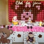 Chá de bebe Ursa marrom e rosa