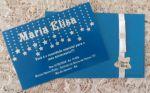 Convite Tenn Cortina de estrelas azul royal com branco