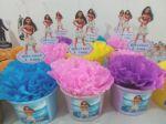 Centro de mesa Moana - cores da festa: Azul, rosa, amarelo, lilás.  6,00 a unid.